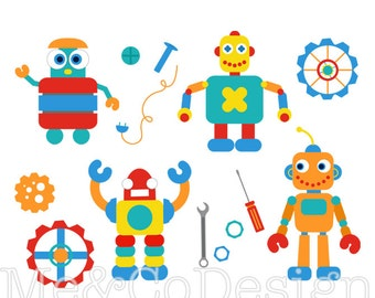 Robots Clipart, Fun Cute Clipart, boy, Gears Tools Instant Download, Personal and Commercial Use Clipart, Digital Clip Art