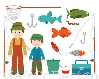 Fishing Trip Clipart, Fun Cute Clipart, Boy, Father and Son Instant Download, Personal and Commercial Use Clipart, Digital Clip Art