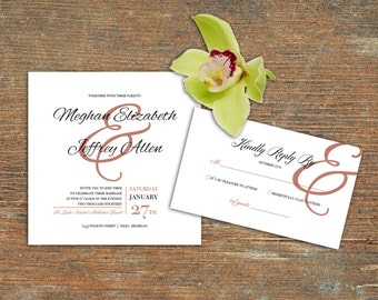 Wedding Invitation, RSVP, Square, Rosy Pink, Ampersand, Customizable Printable