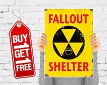 Fallout shelter poster vintage print retro fallout sign, fallout print danger worming sign poster vintage advertising art - Fallout 2 (1226)