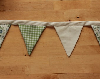 Green and Cream, Floral, Gingham Bunting
