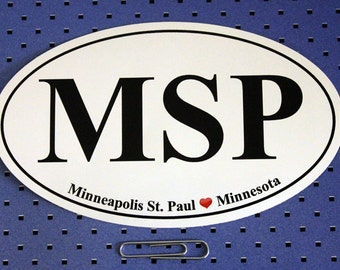 Minneapolis-St. Paul (MSP) Oval Bumper Sticker