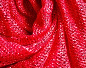 Red Glitter Net Mesh Fabric, Sold by the Yard.  Costume and Dancewear Fabric