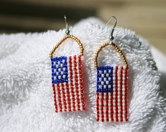 Dog Tag Flag Earrings w/Gold Accents