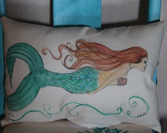 Hand Painted Mermaid Pillow Cover, Beach decor, Coastal Cottage,Ocean life, Fine Art, Acrylic Painted pillow, Sea life, Aqua pillow