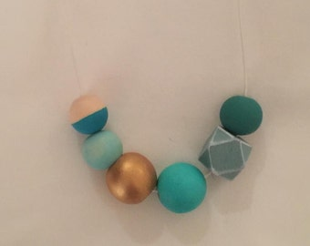 Aquamarine // colours of the sea // wooden geometric necklace // hand painted