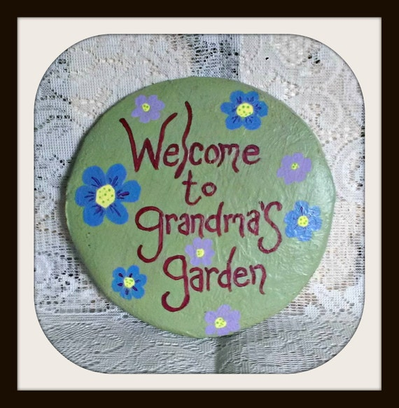 Unavailable listing on etsy - Hand painted garden stones ...