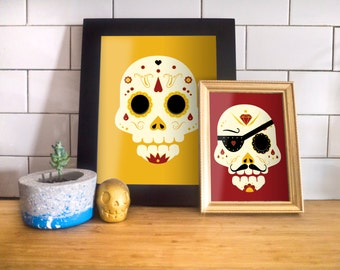 Day of the Dead Sugar Skull: Orange Pirate 8x10 Art Print by Odds And Aliens