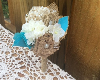 Silk flower Boutonniere, ivory + choice of color, turquoise burlap shabby country wedding rustic elegant handmade