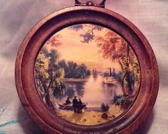 1950s Vintage Round Solid Wood Woodcroftery Hanging Picture