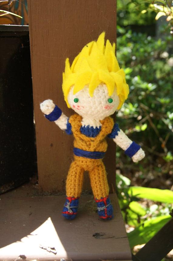 Amigurumi Dragon Ball Goku : Crocheted Doll Amigurumi Goku Super Saiyan by HelloDollhouse