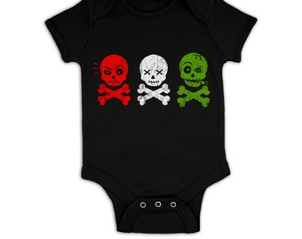 Skull And Bones In A Row baby grow