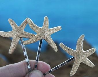 Gold Starfish Hair Pins / Hair Accessories / Bridal Starfish Hair Pins