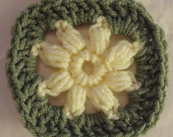 "16 Pale Yellow and Sage 3.5"" Afghan Squares"