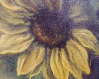 Summer Reflections ~ large framed vertical abstract sunflower painting
