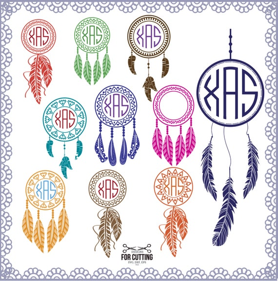 Dream Catcher Feather monogram Frame cut Files SVG DXF EPS.