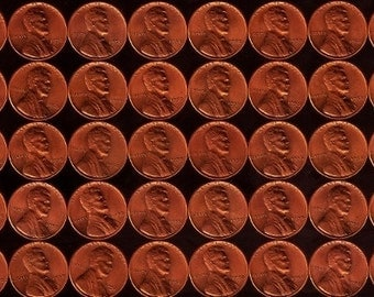 Roll of 50 1958-P Uncirculated Lincoln Wheat Pennies: Final Year Minted