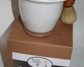 Savon à raser, shaving soap, produit naturel, barbier, rasage, pour homme, pour femme, poterie, blaireau, produit pour le rasage