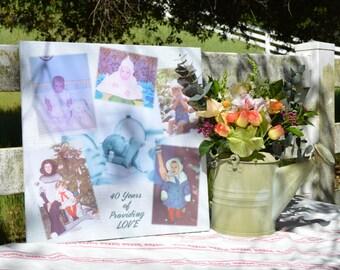Personalized Canvas Photo Collage / Photo Memory Board / Family Photo Art / Home Decor