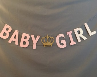 It's A Girl Baby Shower Banner, Baby Shower Banners, Glitter Baby Shower Banners