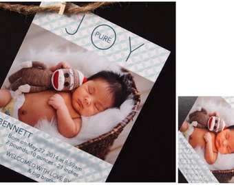 Birth Announcement Cards, Instant Download or Printed Just For You