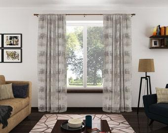 Custom Rod Pocket Linen Sheer Curtains with Tree Print (Pair)