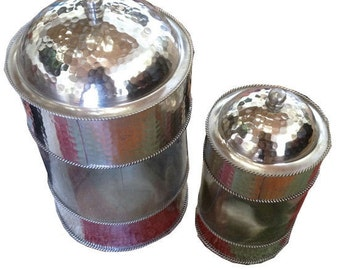 Moroccan glass and hammered metal jars - set of 2