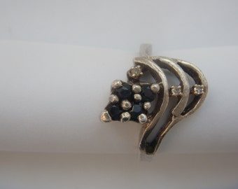Antique silver gold ring diamonds sapphires