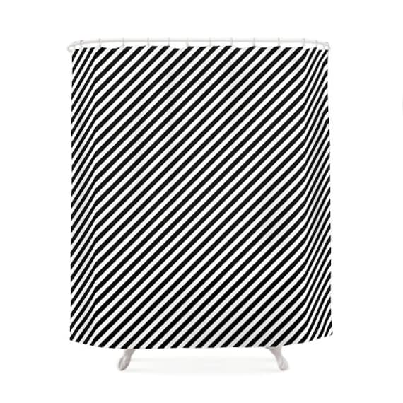 Black and white striped pattern shower curtains bathroom for Black and white striped bathroom accessories