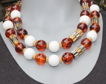 Vintage CADORO Amber Lucite Bead Double Strand Necklace -Statement