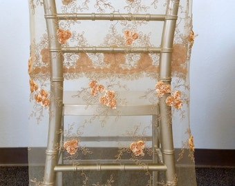 Gold Chair Cover, Floral Rosette, Lace Chair Cover, Wedding Chair Covers, Chair Cover Decoration