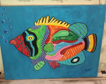 Fish Painting on  a Wrapped Canvas Print
