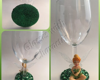 Disney tinkerbell character laughing wine glass
