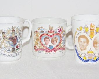 3 Charles and Diana Royal Wedding mugs incl Royal Doulton & Staffordshire