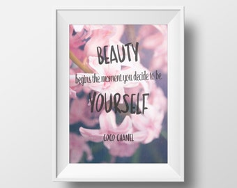 Coco Chanel Print Inspirational Quote Typography Wall Art Poster
