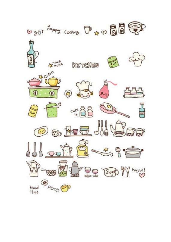 Diy Hand Drawn Kitchen Stuff Printable Planner Stickers Filofax Kikki K Erin Condren Life Planner From Sesamesticker On Etsy Studio