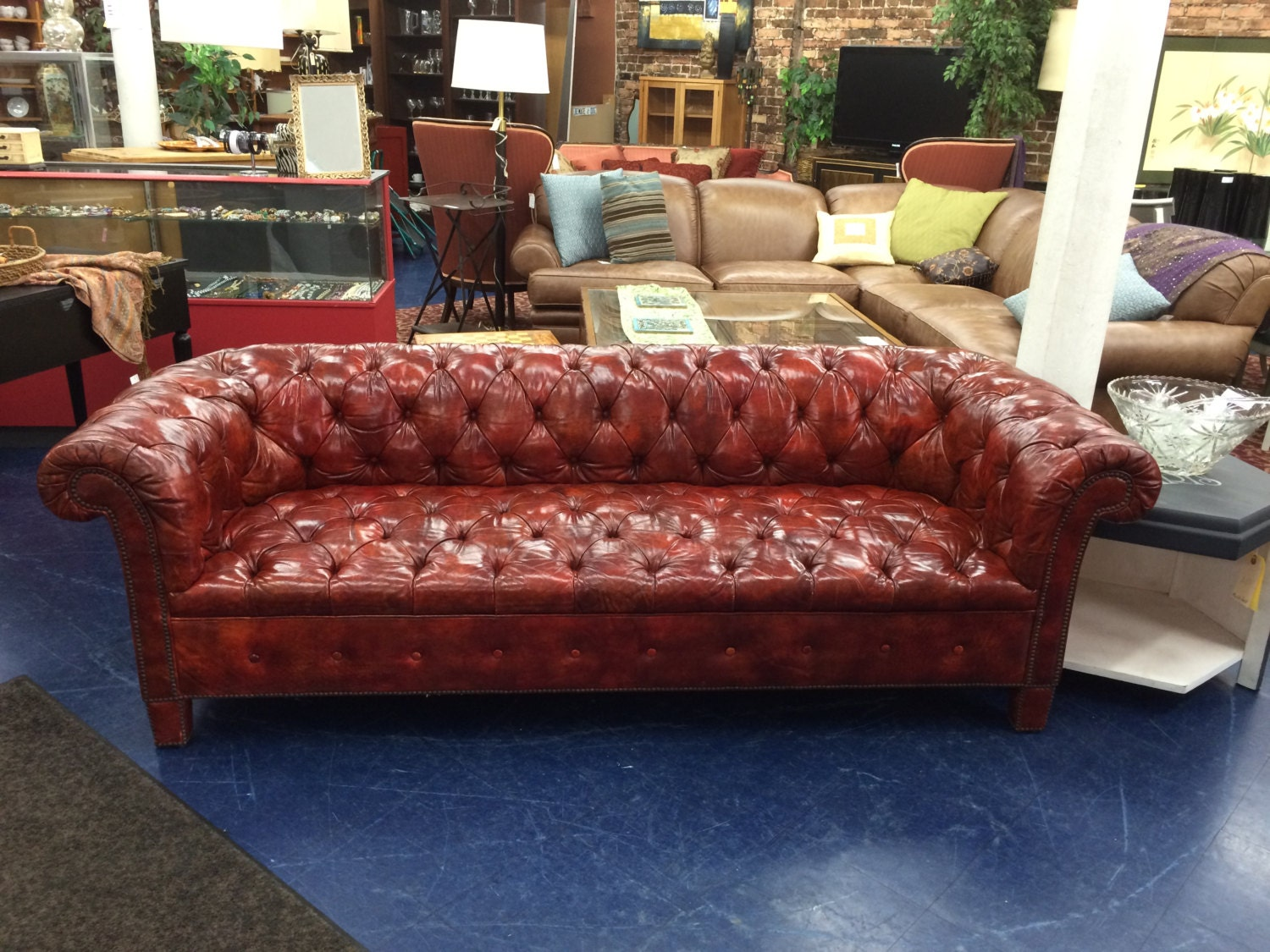 baker chesterfield tufted burnt orange sofa haute juice
