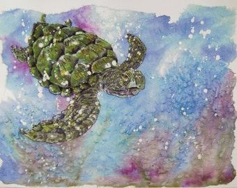 "Watercolor Print, ""Turtle Dancing"" Artist B. Feyedelem"