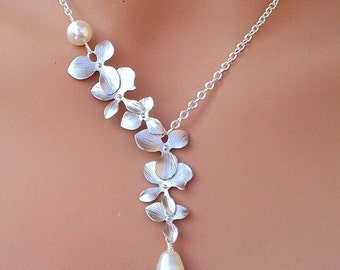 Lariat Asymmetry Cascading Orchid Flower Pendant Geometry Silver Necklace