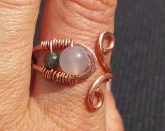 WIRE WRAPPED RING Chalcedony and Kyanite in Hammered Copper Handmade