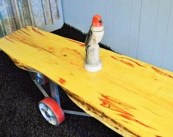 Red Poplar Wheel Coffee Table