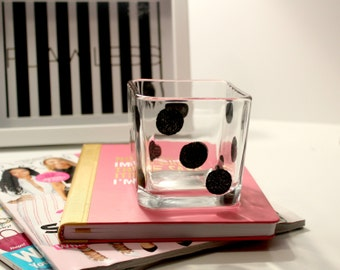 black polka dot mini vase, polka dot home decor, dot home decor, girly home decor, gifts for women, girly gifts