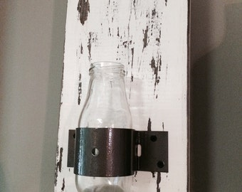Rustic Distressed Glass Bottle Wall Vase