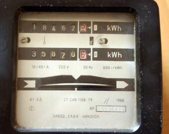 Electric Watt Hour Meter Bakelite 80s Double Tariff A1-5D, Elia