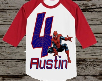Spiderman Birthday Shirt - Spiderman Shirt - Raglan Available