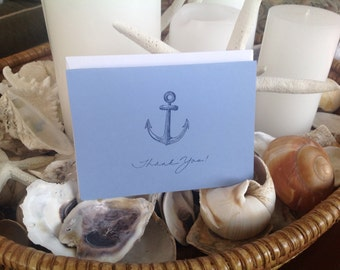 Anchor Cards, Hand Stamped, Set Of Six