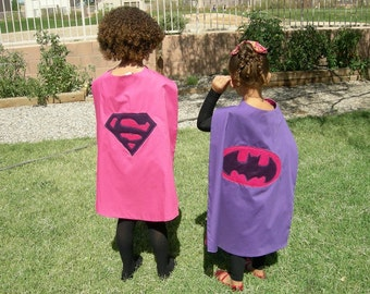 Girls Reversible Kids Superhero Cape { Batgirl / Supergirl } Super Hero Party { Birthday Girl Cape } Kids Cosplay
