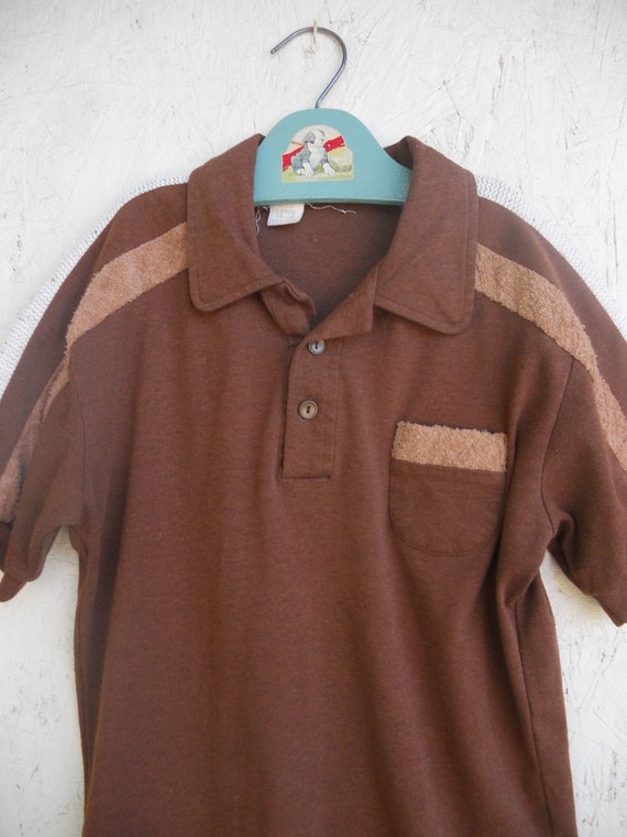 Vintage boys hipster shirt 1970s brown terry cloth kennington for Terry cloth polo shirt