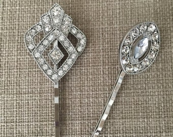 Antique vintage crystal silver barrettes bobby pin wedding hair jewelry hair accessories prom homecoming