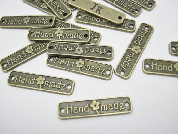 metal labels connectors handmade 25mm 1 bronze On metal tags for crafts